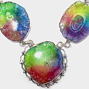 Bright Rainbow Colored Druzy Necklace