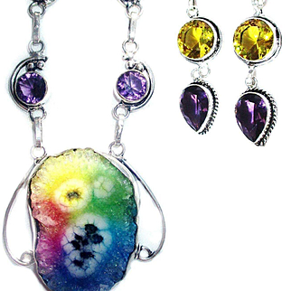 Rainbow Colored Solar Quartz and Crystal Necklace/Earrings