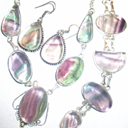 Fluorite Necklace/Bracelet/Earring Set