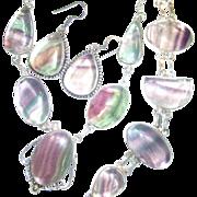 Fluorite Necklace/Bracelet/Earring Set