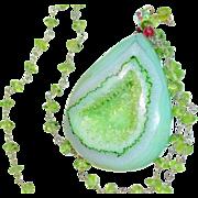 Sparkling Green Druzy on Peridot Chain/Solar/Prehnite/Earrings