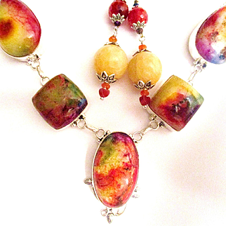 Amazing Bright Colored Agate Druzy Necklace/Citrine Earrings