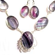 Fluorite Necklace/Earring Set
