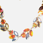 Vintage Golden Aurora Borealis Crystal Bead & Rhinestone Metal Accent  Necklace