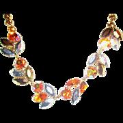 Vintage Golden Aurora Borealis Crystal Bead & Rhinestone Metal Accent  Necklace