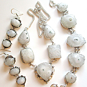 Natural Solar Quartz Necklace/Bracelet/Moonstone Earrings