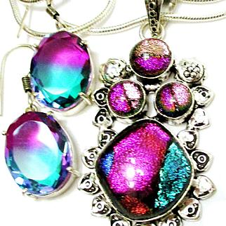 Dichroic Glass Pendant/Earrings/Sterling Chain
