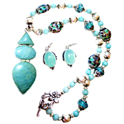 Amazonite/ Lampwork Bead/Pearl/Necklace/Chalcedony Earring Set