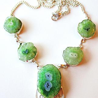 Green Solar Quartz/Druzy Necklace/Earrings Set