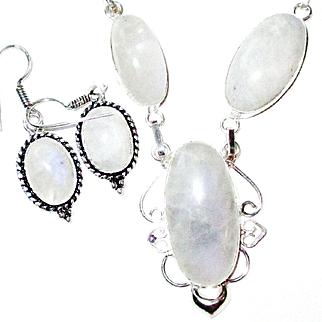 Rainbow Moonstone Necklace/Earring Set