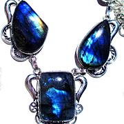 Fire Blue Opalescent Labradorite Necklace/Earring Set