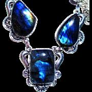 Fire Blue Opalescent Labradorite Necklace