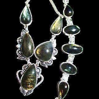Golden Opalescent Labradorite Necklace/Bracelet Set
