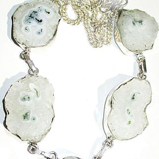Moss Agate in Crystal Quartz/Solar Earrings