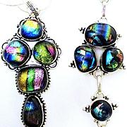 Bright Pastel Colored Dichroic Glass Necklace/Bracelet