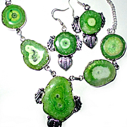 Green Solar Quartz/Druzy Necklace/Earrings Set