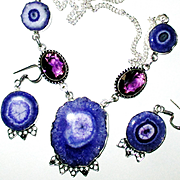 Purple Solar Quartz Druzy Necklace/Earring Set