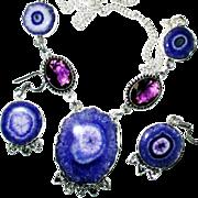 Purple Solar Quartz Druzy Necklace/Earring Set