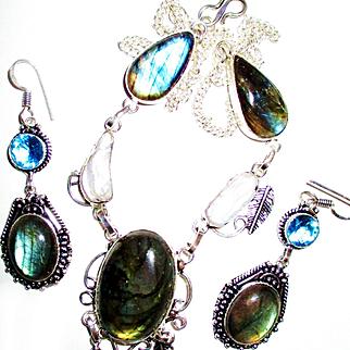 Teardrop Labradorite Necklace/Earring Set