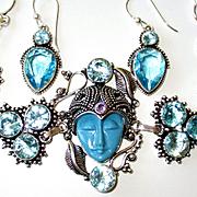 Blue Face/Crystal/Marcasite Bracelet