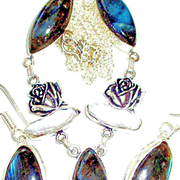 Labradorite/Biwa Pearl/Rose/Sterling Necklace/Earring Set