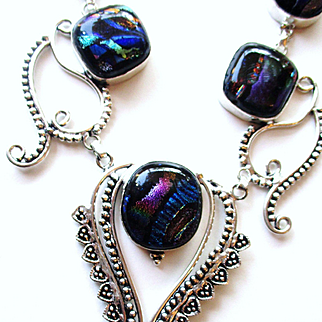 Opalescent Dichroic Glass Necklace