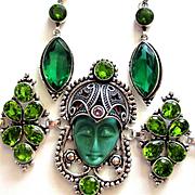 Green Face Goddess/Crystals/Marcasite Bracelet/Earrings