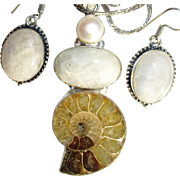 Ammonite Fossil/Moonstone Necklace/Earring/Set