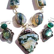 Moss Agate in Crystal Quartz/Labradorite Earrings