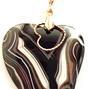 Botswana Agate-Black/Brown/White Heart Pendant with 28 inch Copper Chain