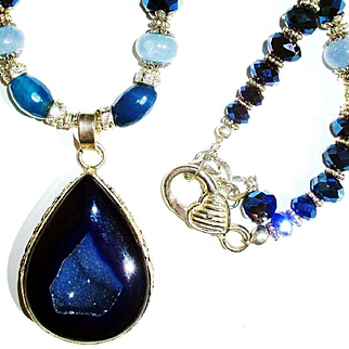 Bright Blue Druzy/Kyanite/Crystal Necklace
