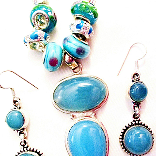 Blue Chalcedony Pendent/Chain/Earrings
