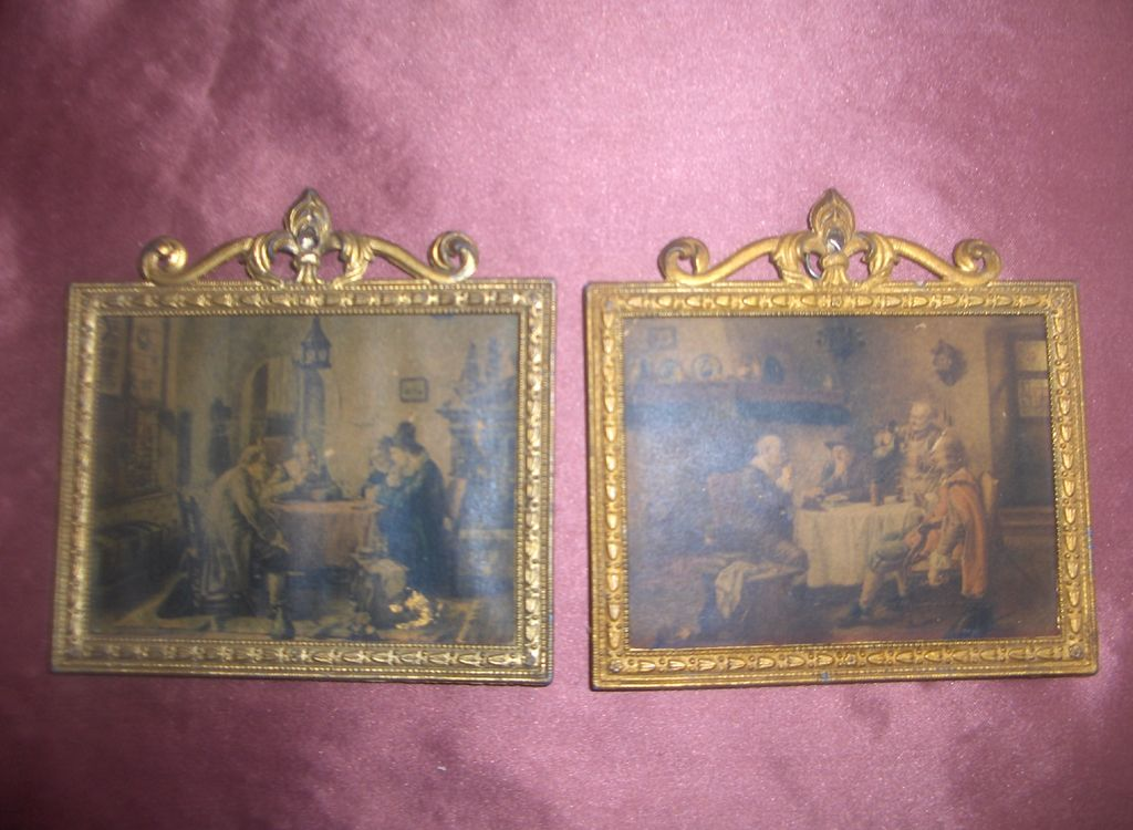 Vintage Miniature Faux French Ormolu Doll House Frames with Prints