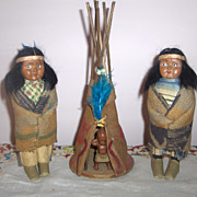 Vintage Pair Skookum (Bully Good) Indian Squaws with Teepee and Toddler c.1913