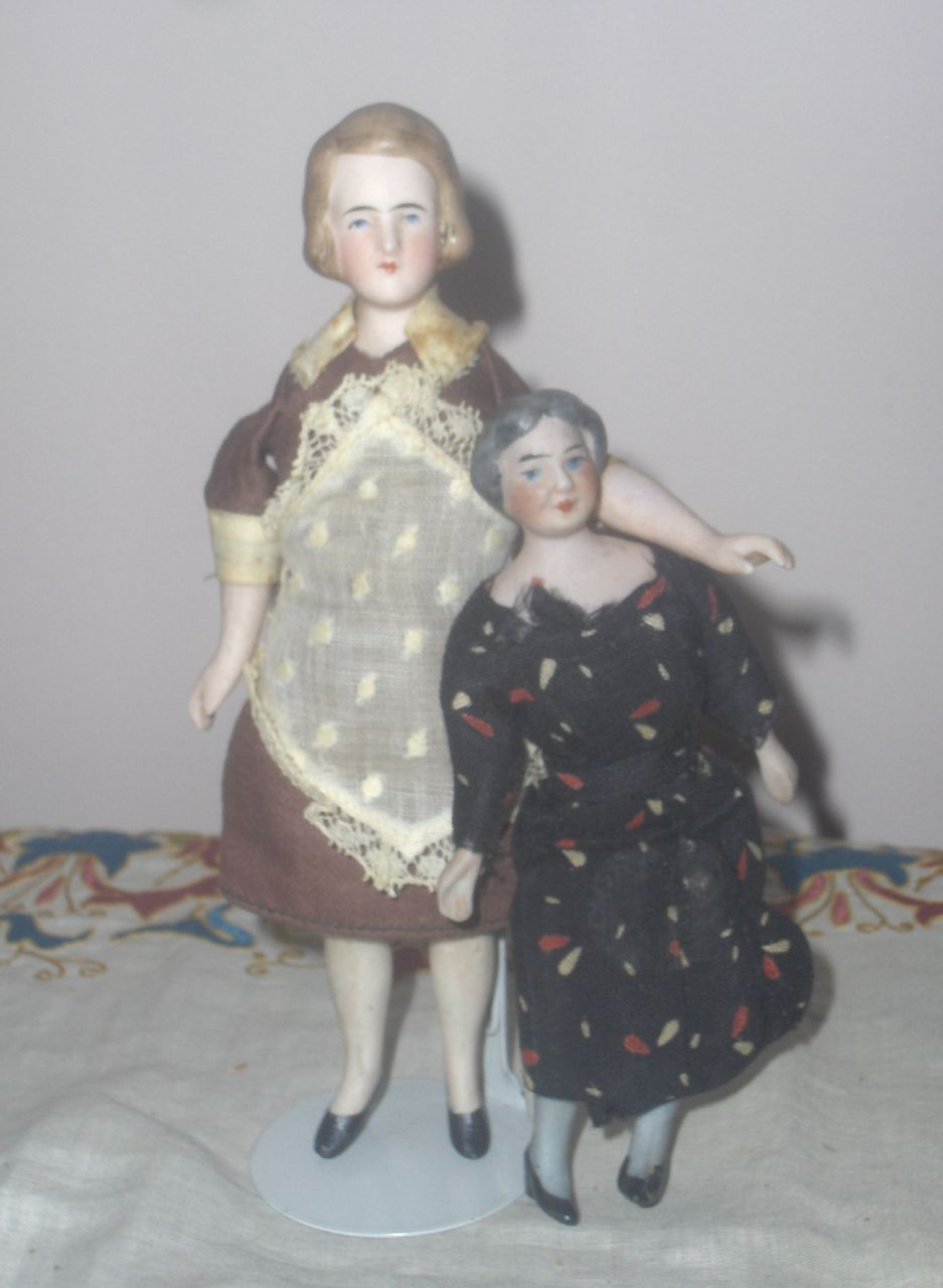 Two Bisque Miniature  Doll House Dolls Mom and GrandMa Original
