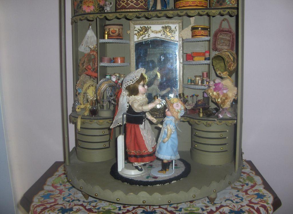 Vintage French Hat Doll Shop w/ Pair Bisque Dolls & Fabulous Contents