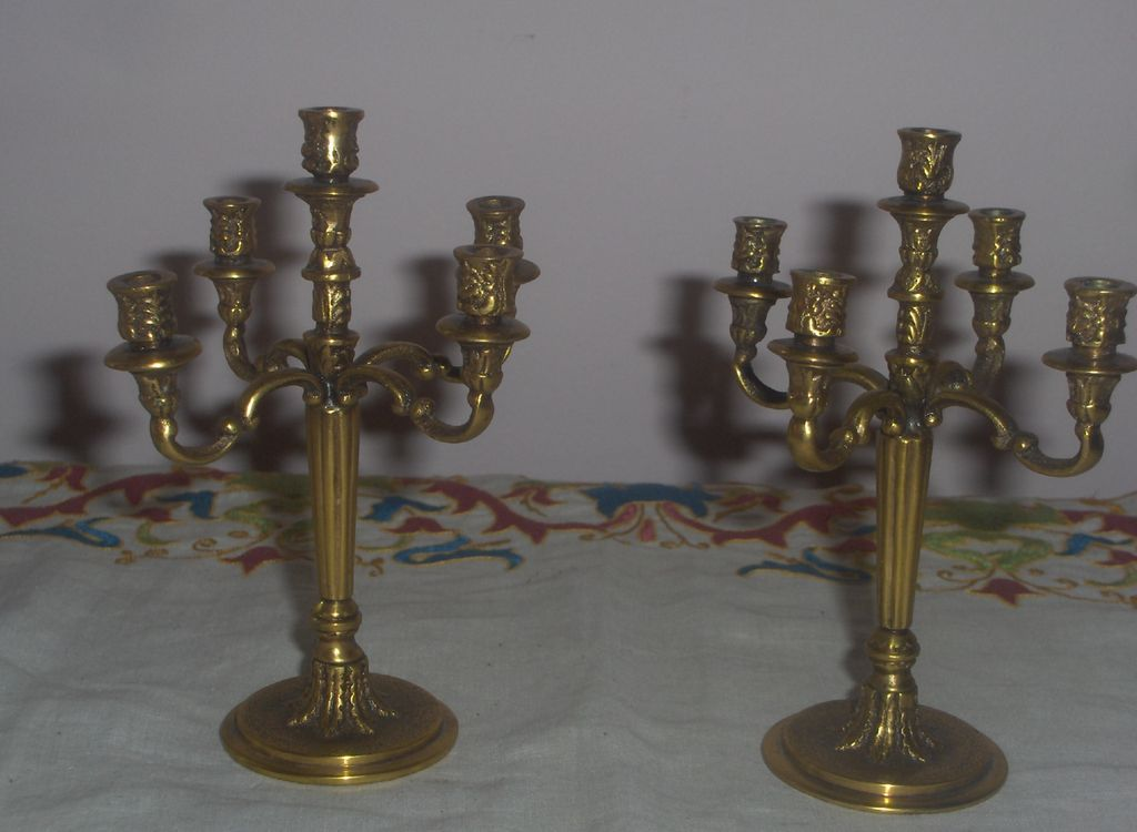 Miniature Pair Ornate  Solid Brass Candelabras Vintage Fantastic