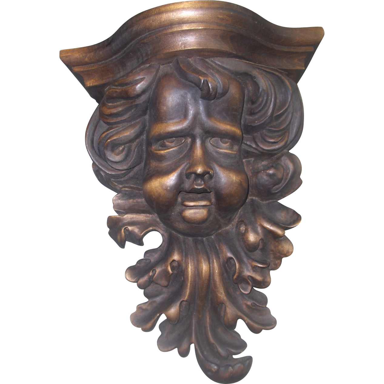 19th cent.  Hand Carved Putti Face Large Wall Shelf