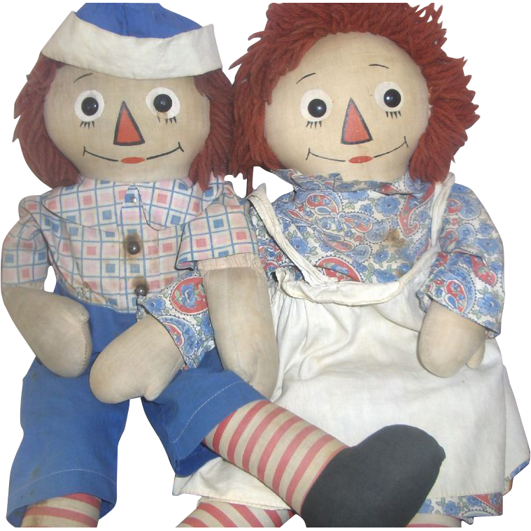 Earliest Georgene Novelties Raggedy Ann & Andy All Original Tagged c.1930s