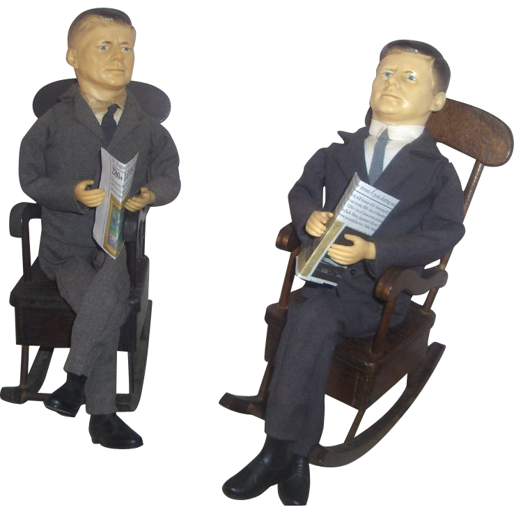 Pair John F.  Kennedy in Musical Rocking Chairs c. 1963 All Original Fabulous