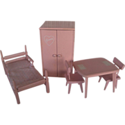 Vogue Ginny Pink Wooden Doll Furniture Set c.1950  Very Good Condition  WOW