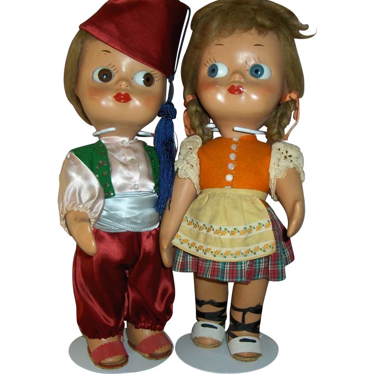 "Pair  14"" ""Dedo"" Googly  Dolls Made in Italy All Original Ex. Condition"