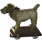 "Early 10"" Dog on Cast Iron Metal Wheels, Long Mohair Pull Toy Ex. Condition"