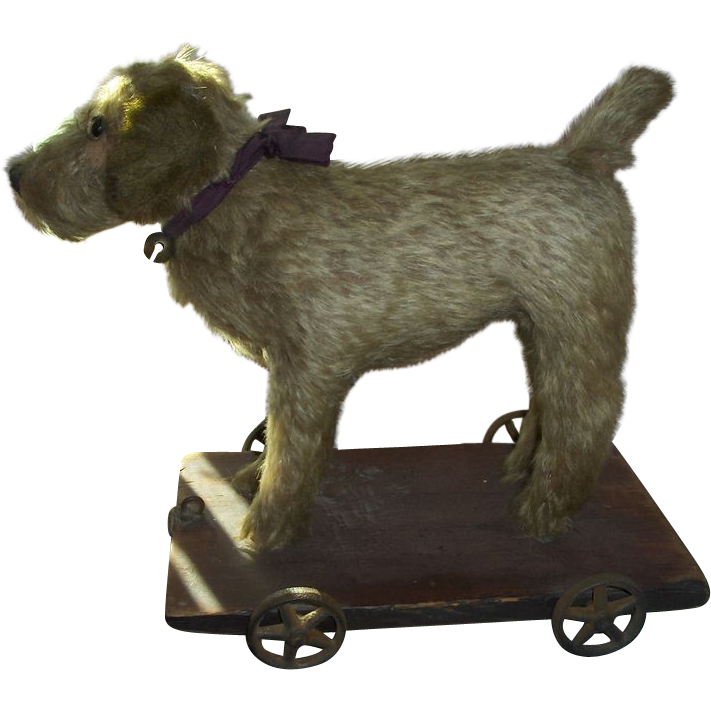 """Early 10"""" Dog on Cast Iron Metal Wheels, Long Mohair Pull Toy Ex. Condition"""