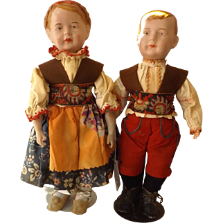 Very Rare Pair German Brother & Sister Wagner & Zetzche Art Dolls Fabulous