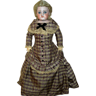 "17"" German Bisque Closed Mouth with Rare Body, Stunning Antique Doll"
