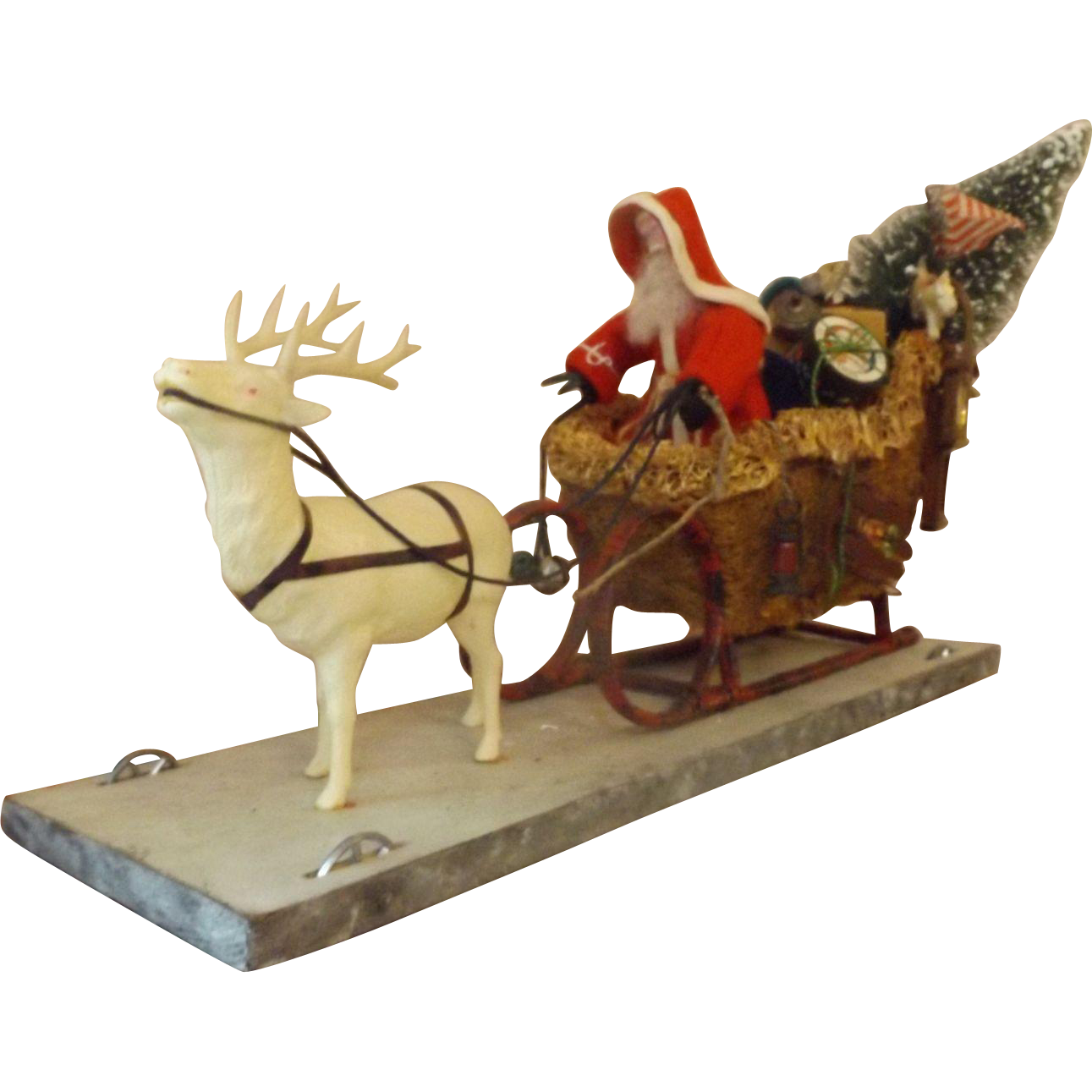 Vintage Christmas Pull-toy Santa and Reindeer Pulling Sleigh Full of Toys  Fantastic