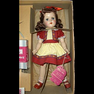 15in. Mint in Box, MIB, Hard Plastic Ideal Toni Doll, All Original and Beautiful c. 1950