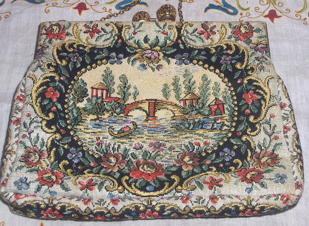 Vintage Beautiful French Tapestry Handbag Purse  Colorful
