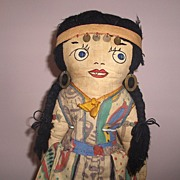 Unusual Doll Vintage Cloth Indian Girl All Original